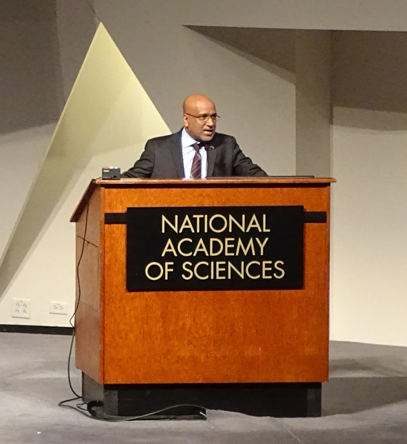 Alex Kurien spoke about the ways ISO 55000 can help better manage $1.5 trillion in Federal personal property and $1.5 trillion in real property during the Federal Leadership in Asset Management Policy Forum at the National Academy of Sciences in October 2015. Photo: Robert Smith